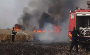 الحريق الذي تسبب به 3 مستوطنين حاولوا إطلاق طائرة ورقية